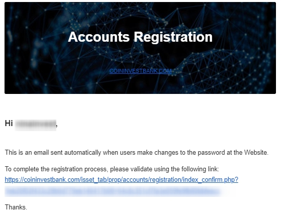 coininvestbank - Confirm registration